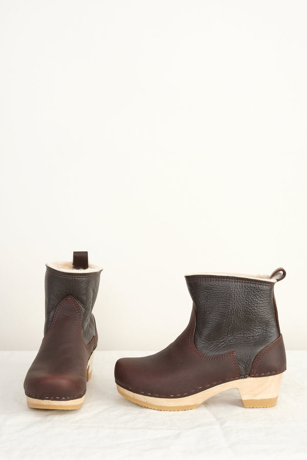 "5"" Pull on Shearling Clog Boot on Mid Heel no. 6"