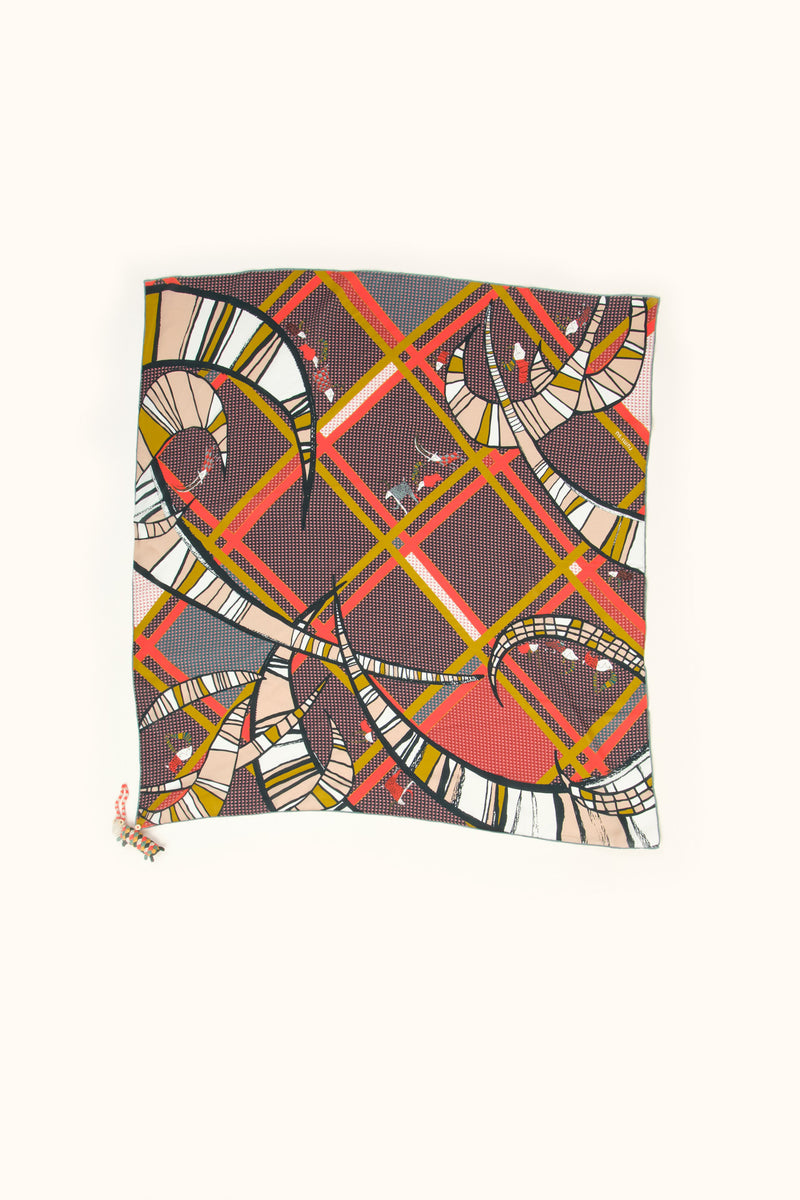 Rumisu Giddy Goats Silk Scarf In Red & Mustard 35x35""