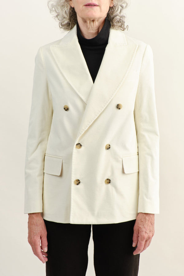 Vis a Vis Double Breasted Blazer White