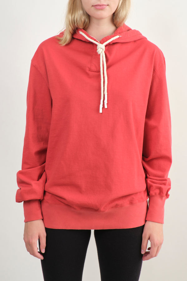 Bassike Double Jersey Dot Hooded Sweat Vintage Red