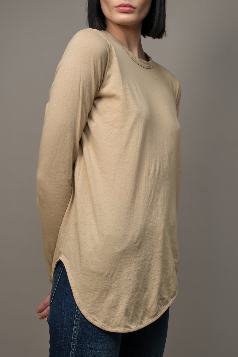 Bassike Heritage Scoop Hem Long Sleeve T-shirt in Latte