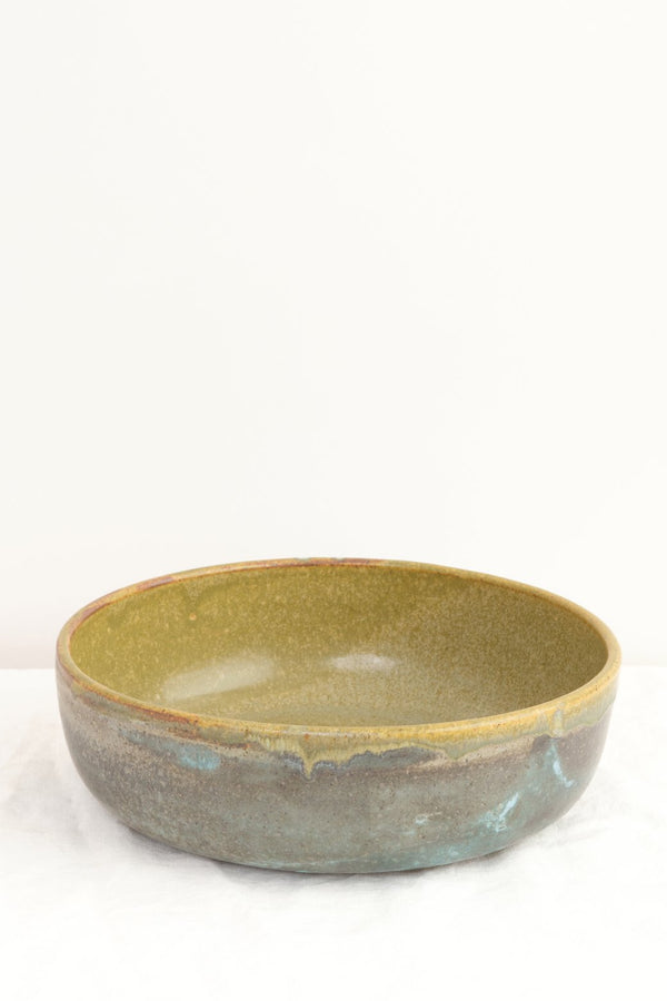 "Paige Stewart 12"" Serving Bowl Tea Green and Matte Turquoise"