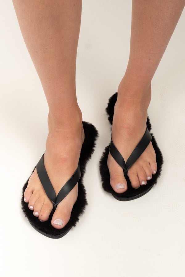 Shearling lined sandals