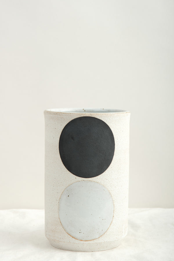 Mquan Studio Small Vessel Tall: Domino Black & White