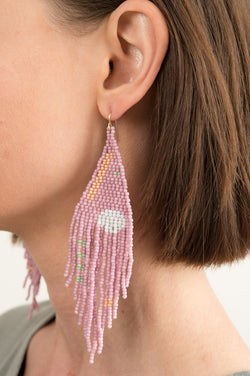 Salihah Moore Orb Lilac Hand Beaded Earrings