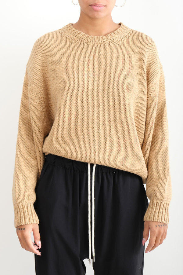Bassike Chunky Crew Neck Knit Tan