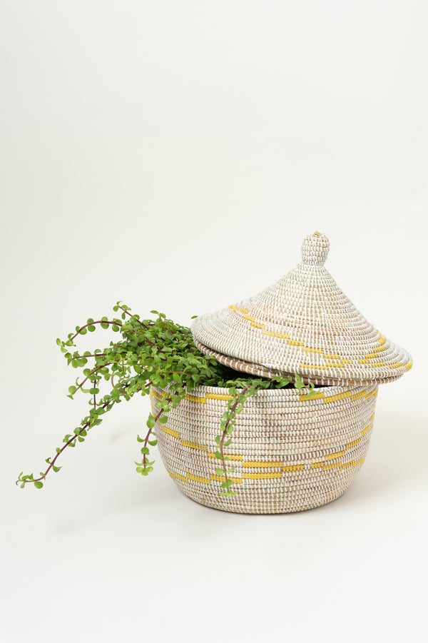 Swahili African Modern Warming Basket W/ Yellow Garland