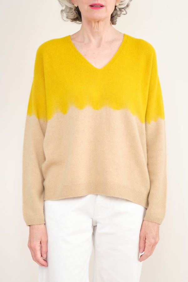 Suzusan Cashmere Seamless V Neck Pullover Yellow/Camel