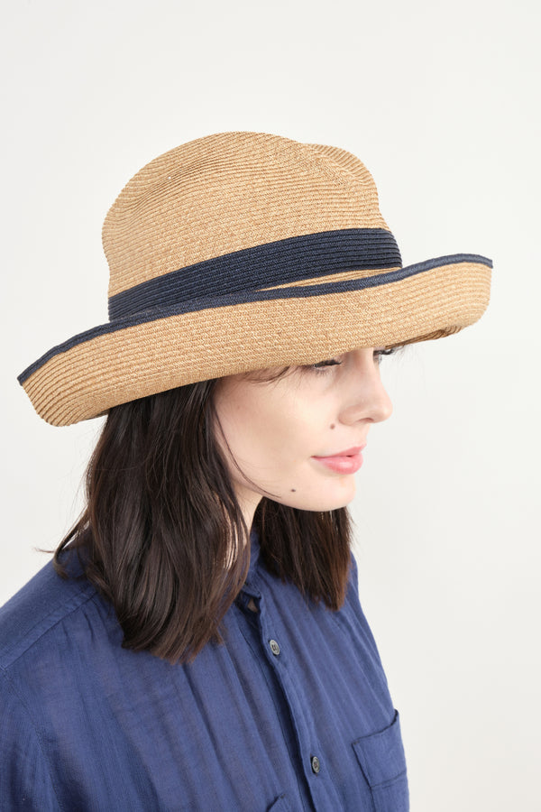 Mature Ha Boxed Hat In Mix Brown x Navy