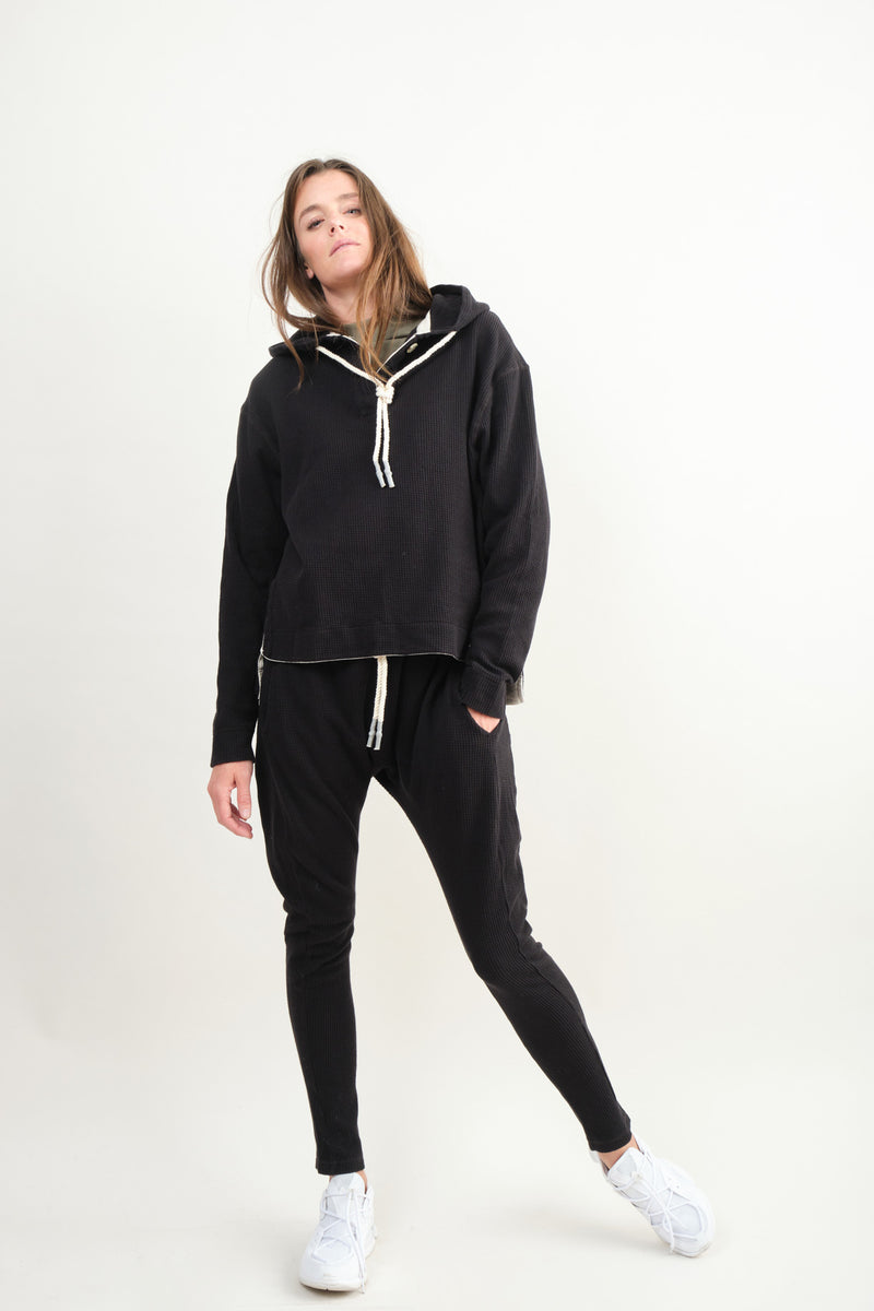 Bassike Boxy Waffle Hooded Sweat In Black