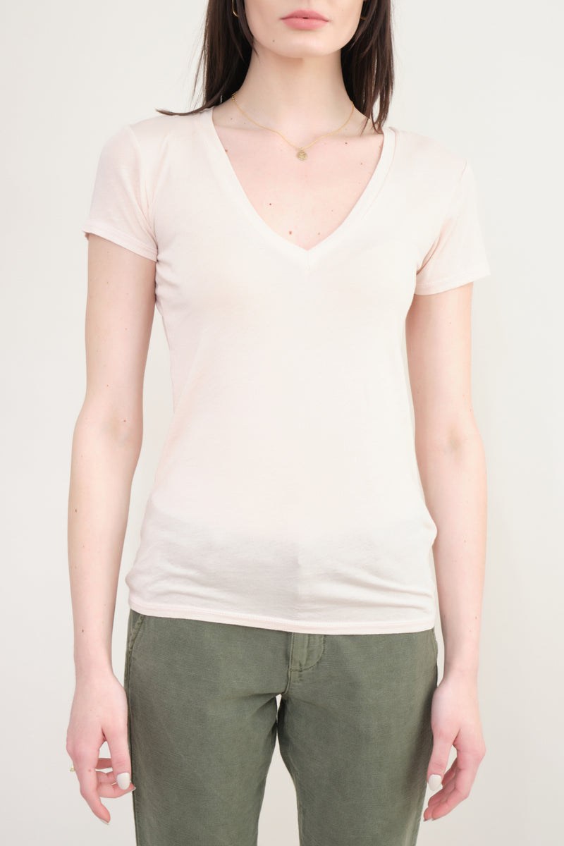 NSF Clothing Julia V Neck In PEarl