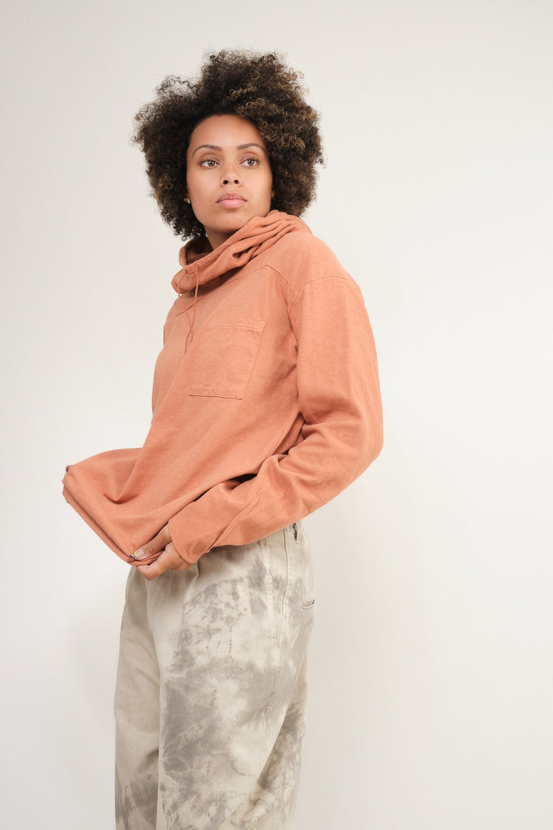 Jersey x Gauze Jersey ESKIMO Hooded Tee in Light Brown kapital