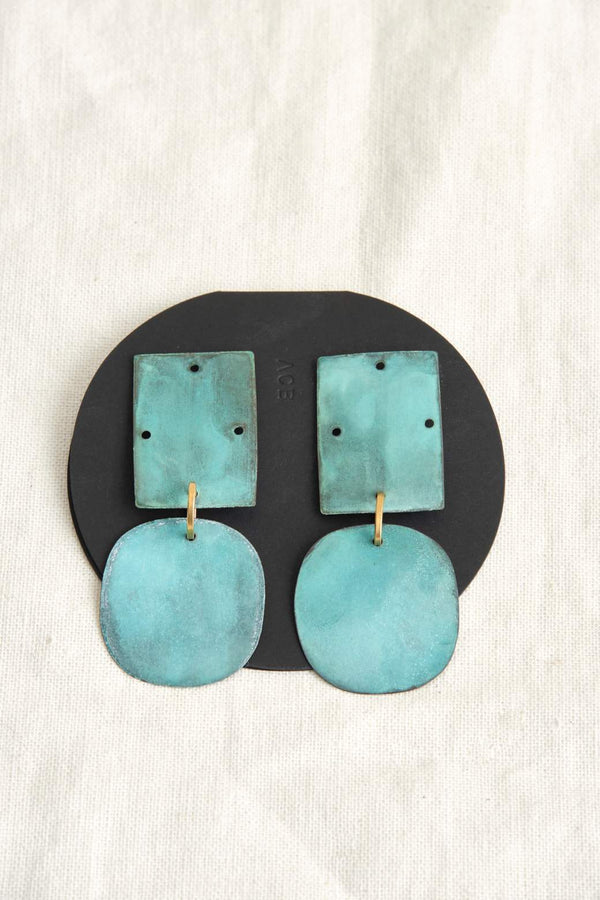 Annie Costello Brown Overt Earrings In Cyan Oxide Brass