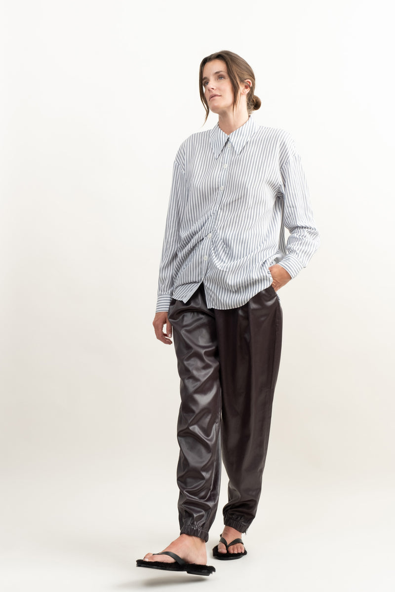 Tibi Soft Striped Drape Shirt