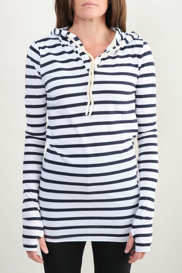 Placket Detail Hooded Top Bassike