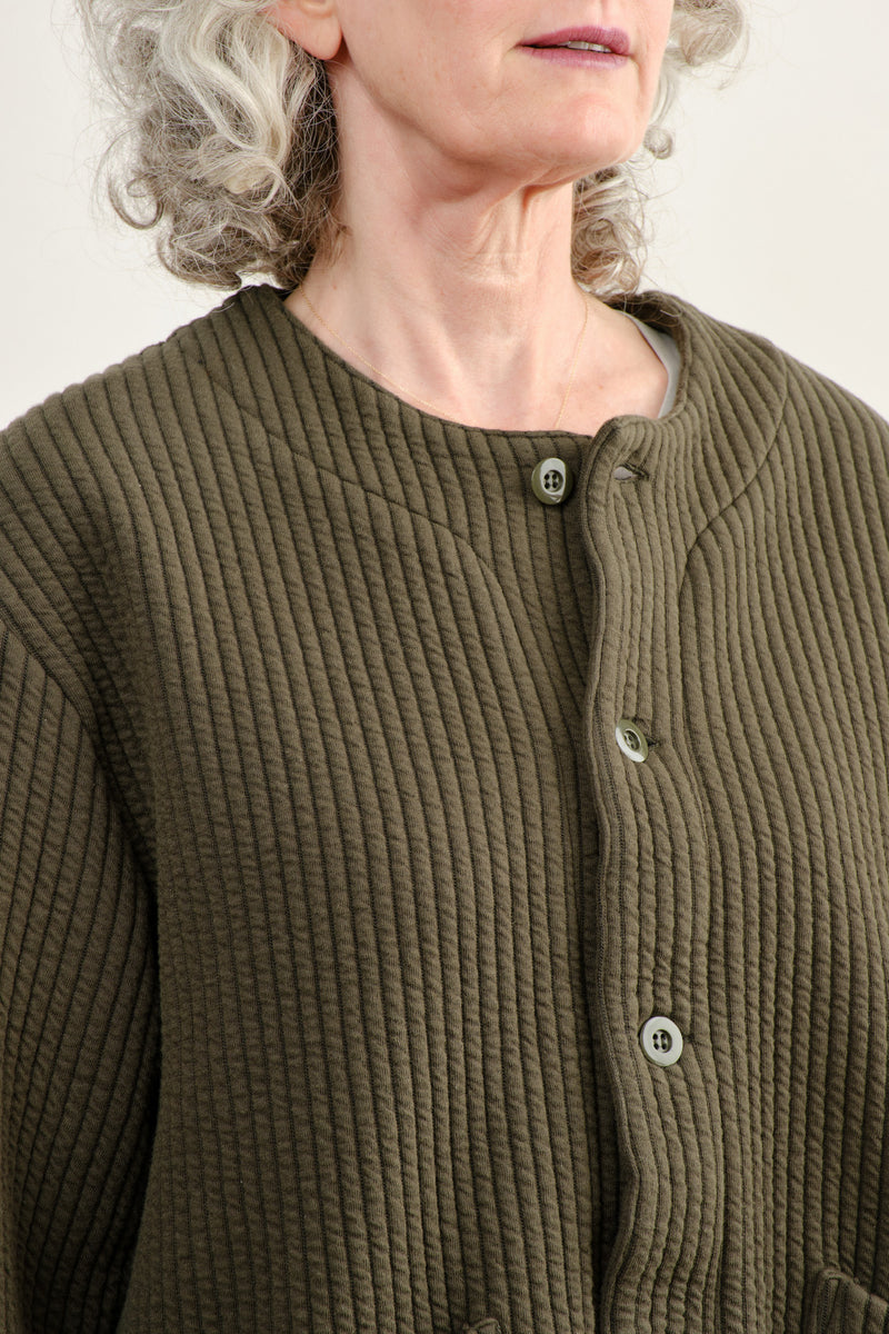 Chimala Unisex Quilted Crew Cardigan Cotton