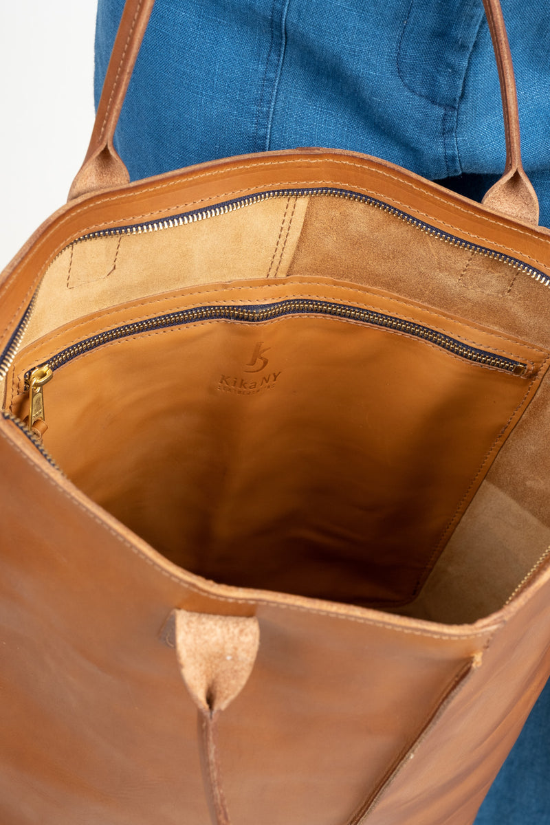Women's Tan Leather Tote Bag