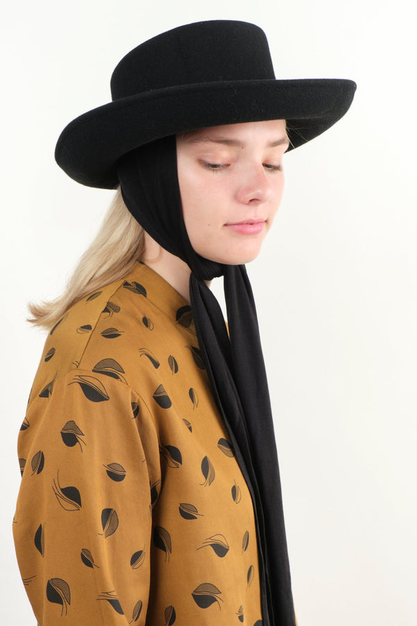 Clyde Gambler Hat W/Neck Scarf Black