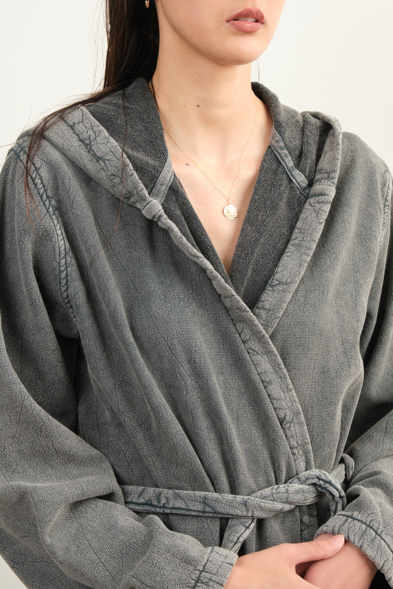 Vintage Wash Robe In Charcoal
