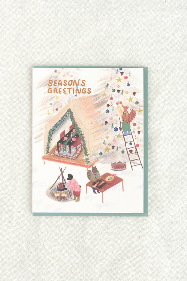Small Adventure Holiday Tent Party Card
