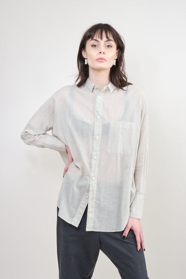 pas de calais Striped Cotton Blouse In Ivory