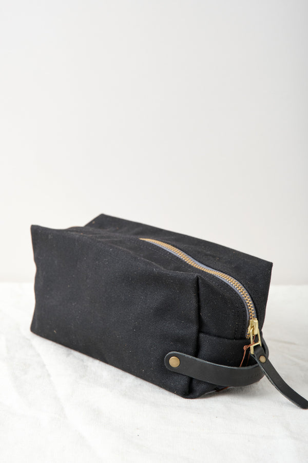 Winter Session Large Waxed Canvas Dopp Kit Black