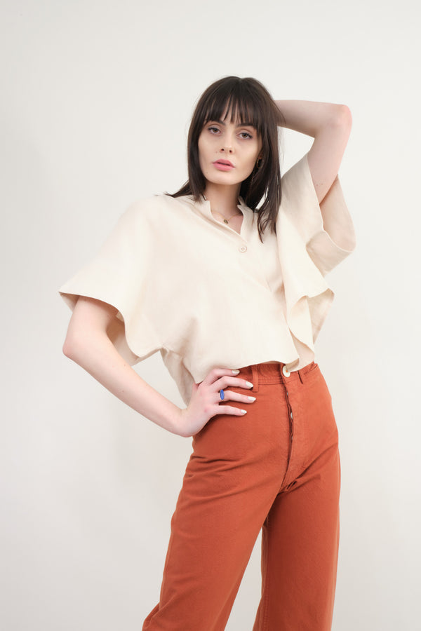 7115 by Szeki  Mandarin V Neck Top In Sand