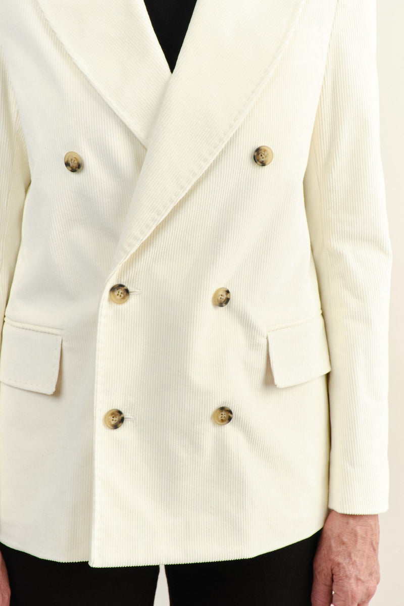 Vis a Vis Double Breasted Blazer White Corduroy