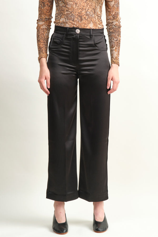 Women's Black Satin Pants