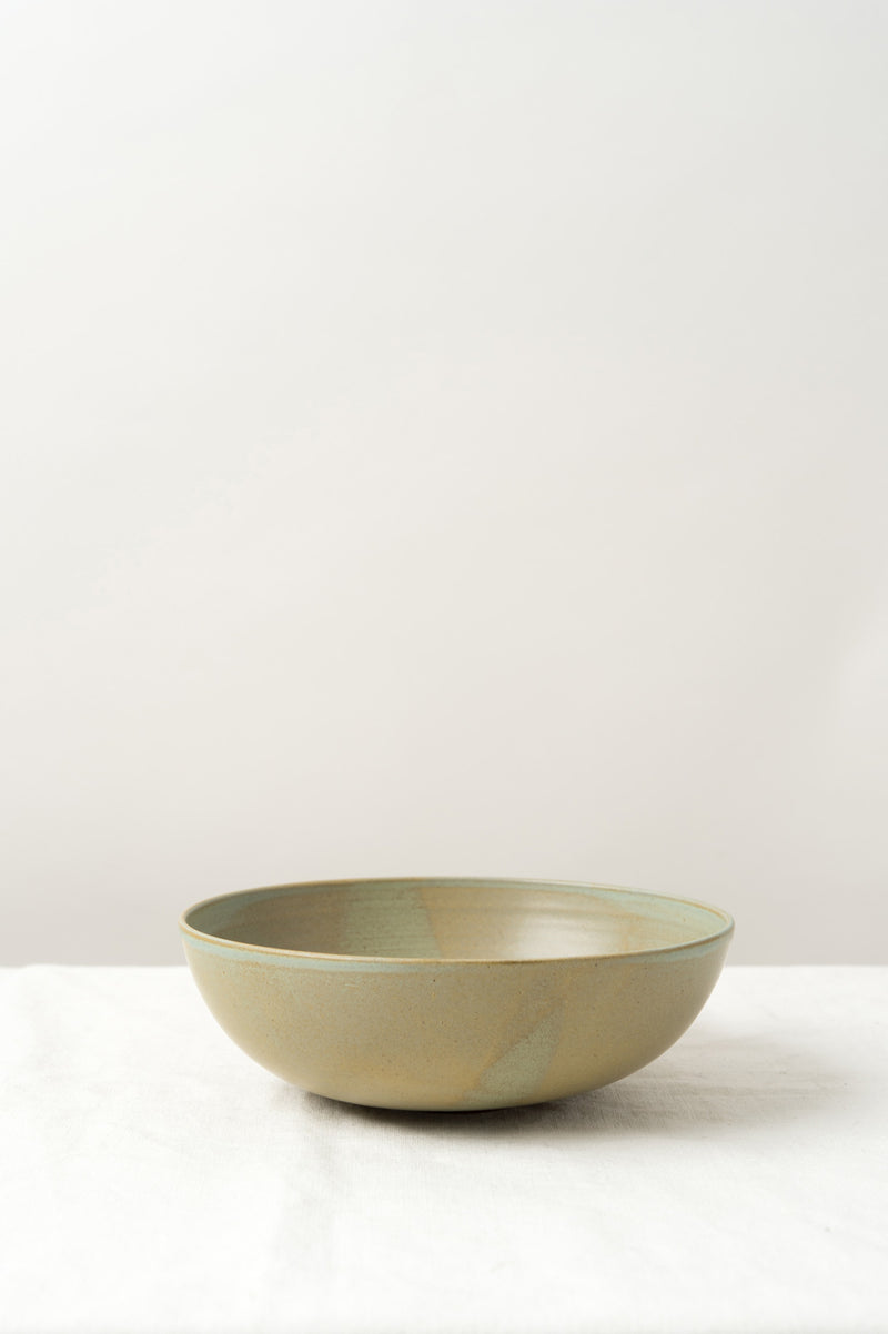 Kati Von Lehman Footed Bowl In Brown/Stoneware/Sage Green