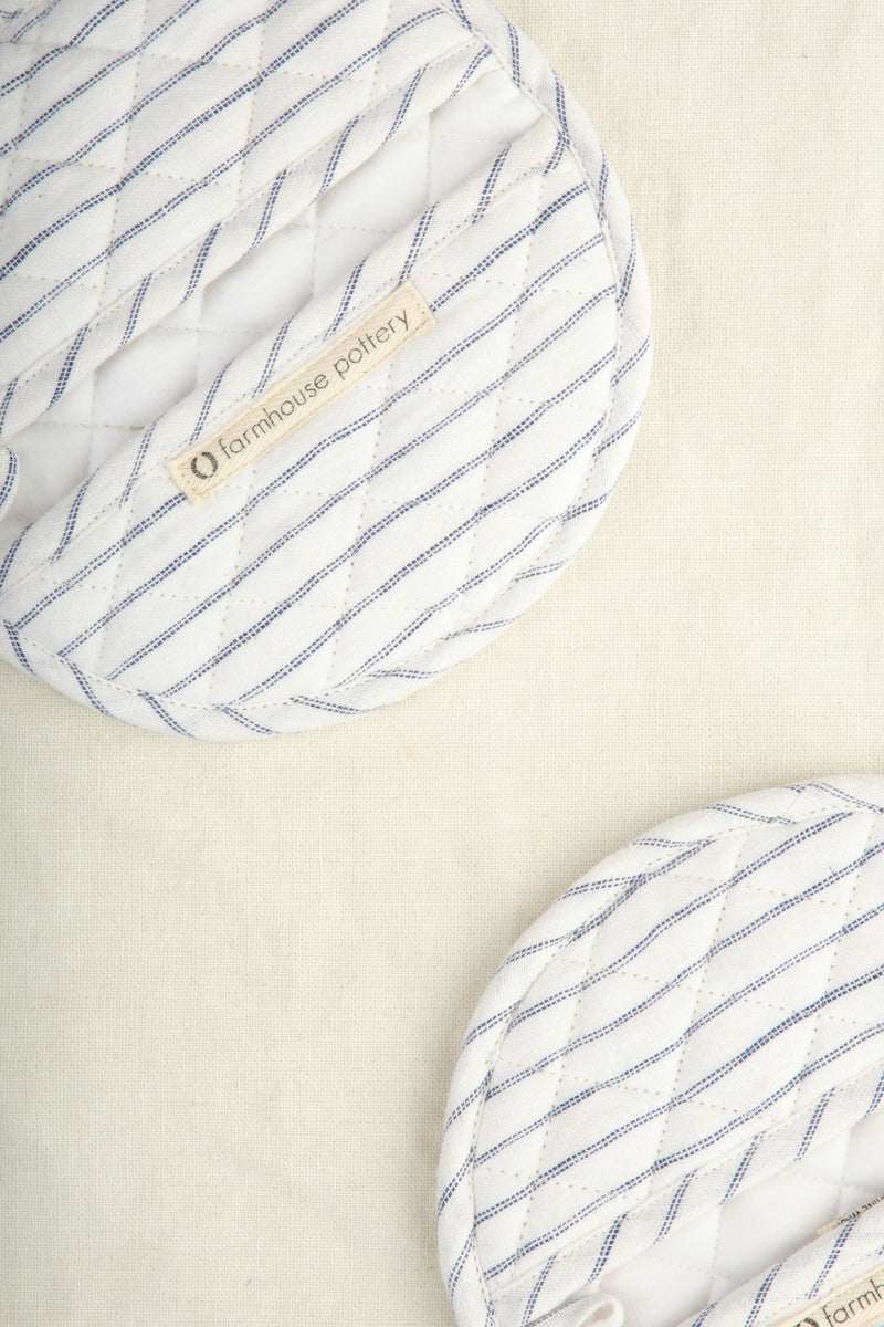 Farmhouse Pottery Stripe Linen Oven Mitts
