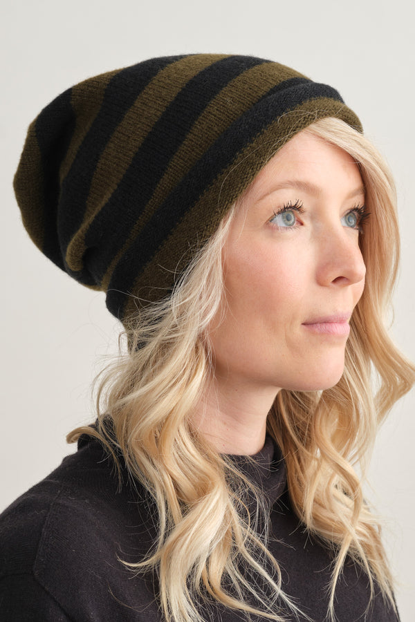 Jo Gordon Stripe Hat Black & Military