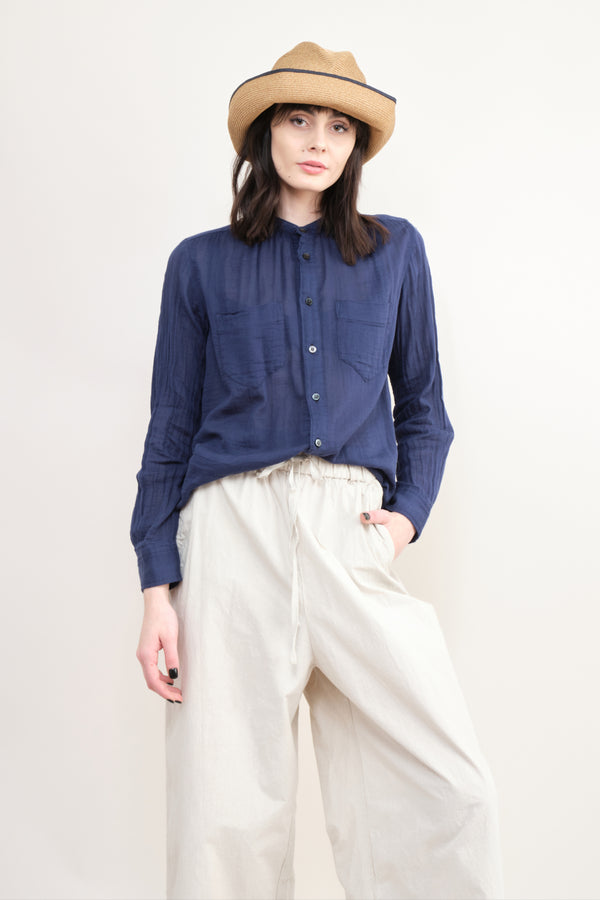 pas de calais Gauzy Cotton Blouse In Navy
