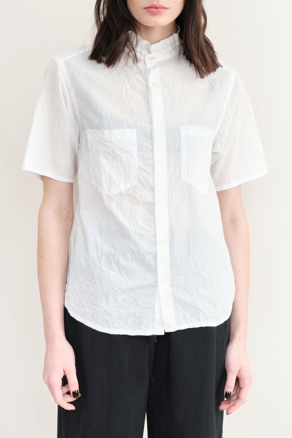 pas de calais Crinkled Cotton Dress Shirt White