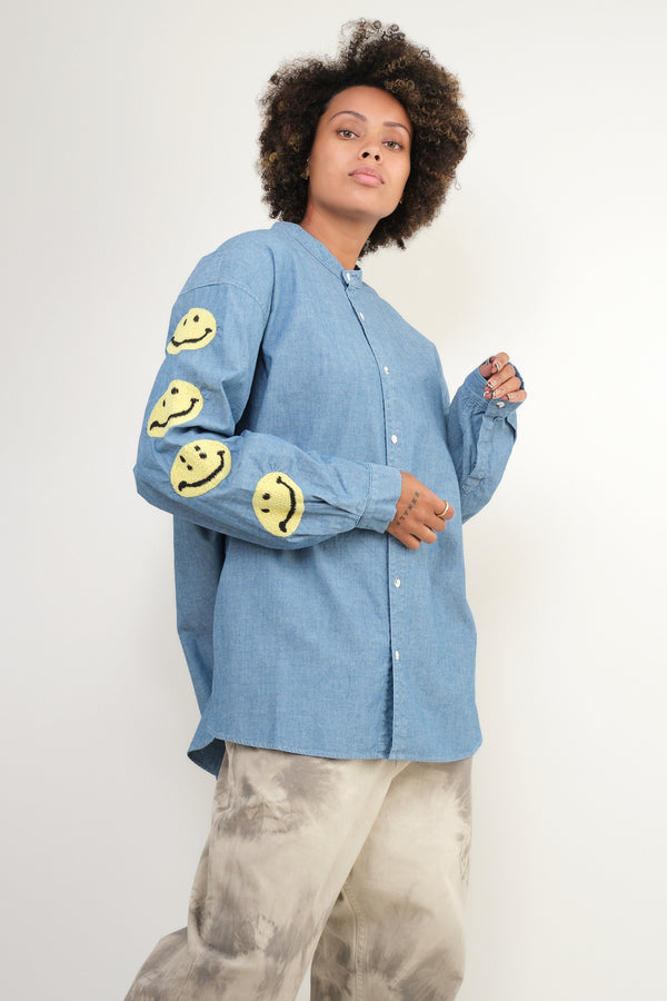 kapital Chambray Band Collar Shirt (Smile)