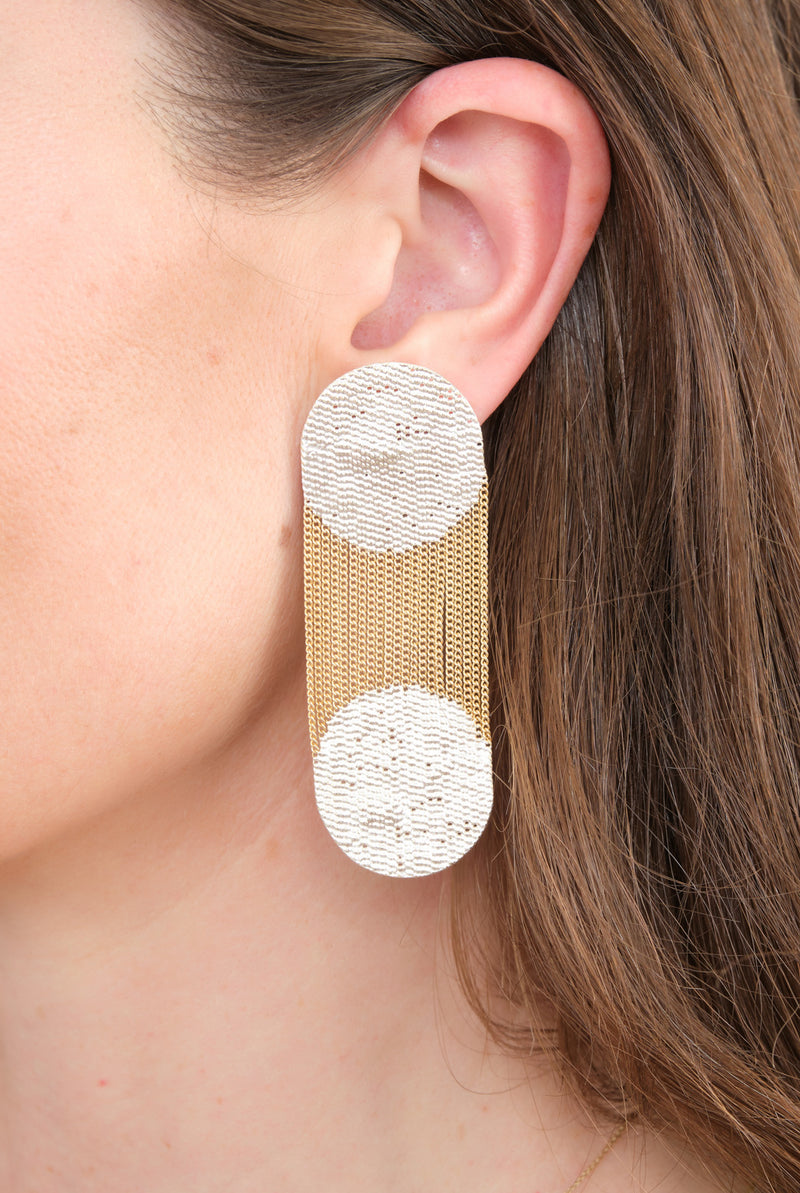 Hannah Keefe Two Dots Statement Earrings