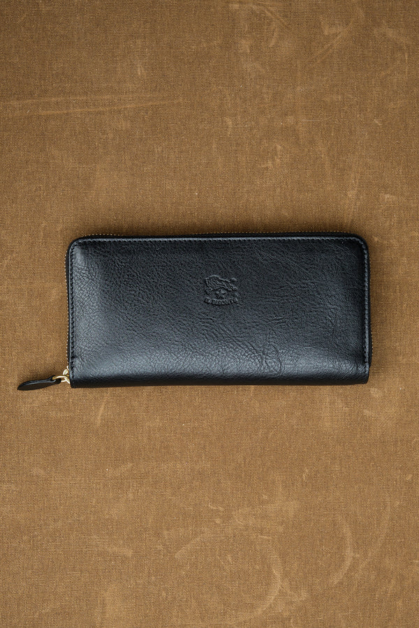 Cowhide Zip Around Wallet in Nero il bisonte