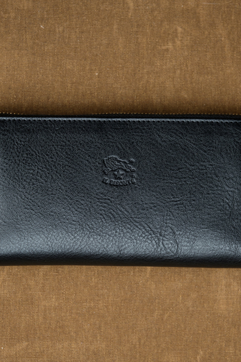 Cowhide Zip Around Wallet in Nero made in italy