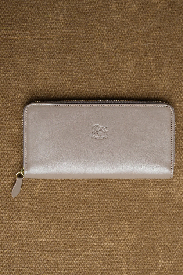 Cowhide Zip Around Wallet in Tortora il bisonte