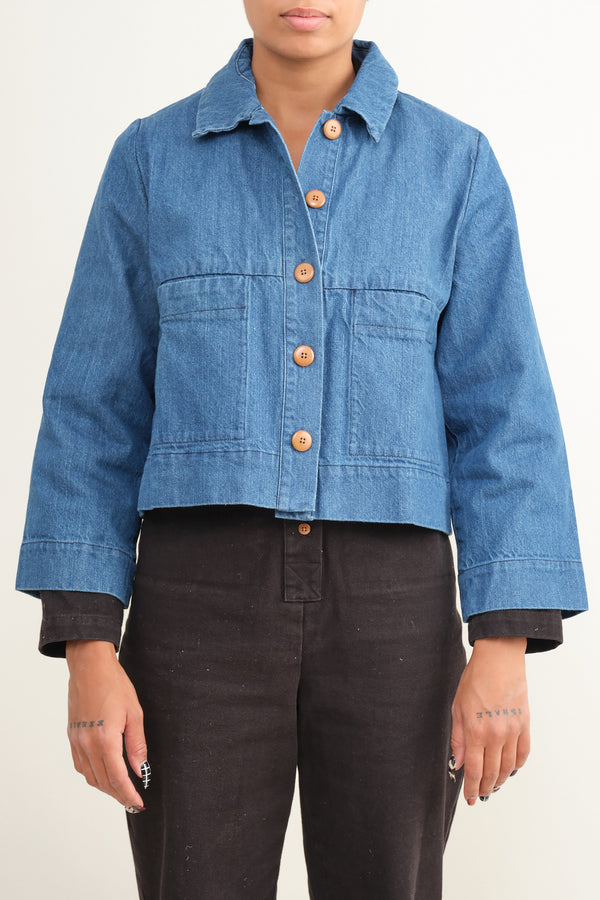 denim mabel crop jacket Ilana Kohn