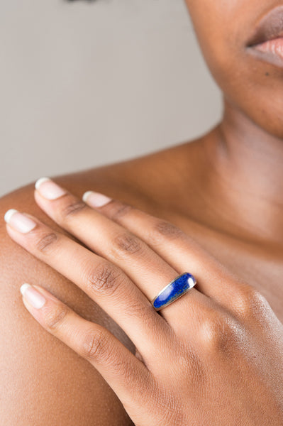 Sterling silver inlay cocktail ring with lapis