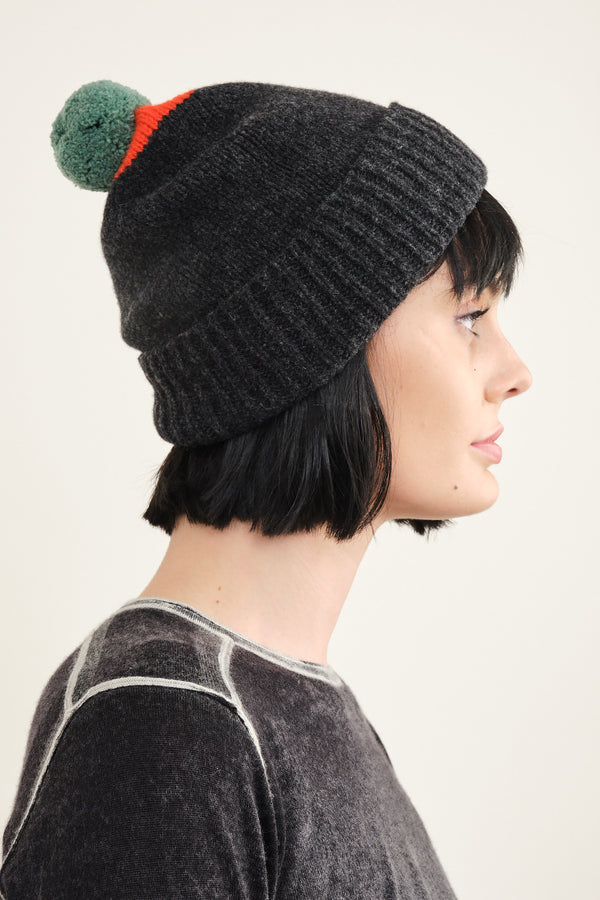 Jo Gordon top spot pompom hat in orange gloss