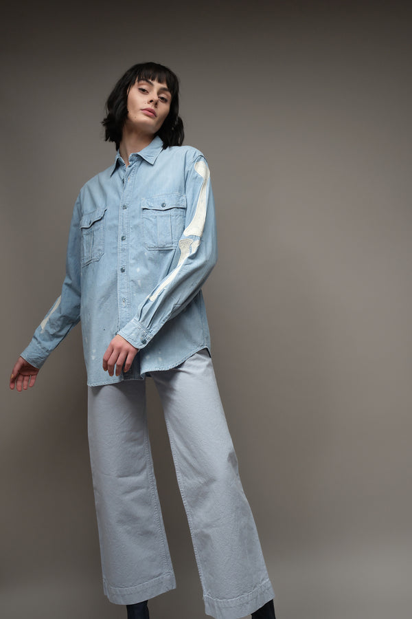 Kapital Chambray Work Shirt (Bone Embroidery)