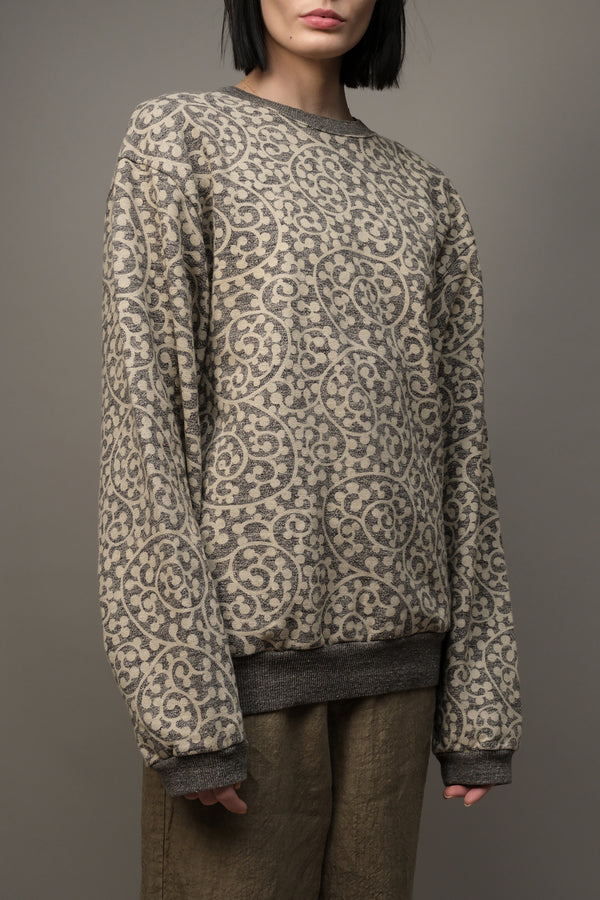 Grandrelle Fleece Knit TARO-Arabesque BIG Crew Kapital