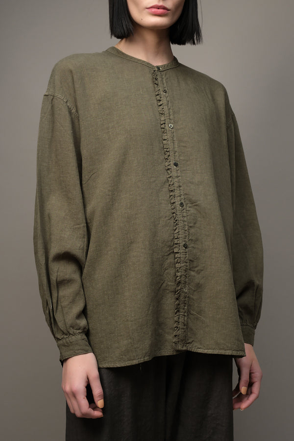 Soft Linen Band Collar Petit-Frill Shirt Kapital