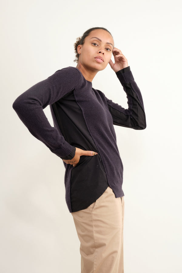 Cashmere Sweater with Cotton Inset in Blue Notte