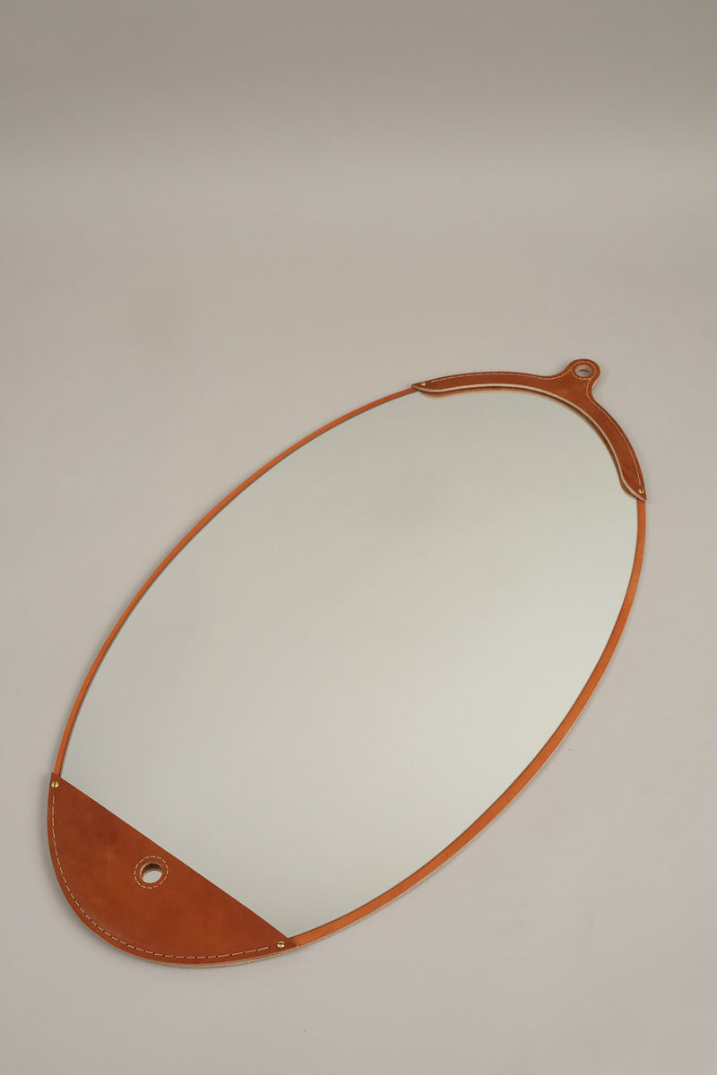 leather framed mirror Lostine