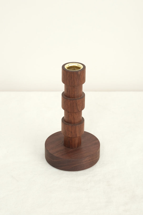 walnut small franc candle holder