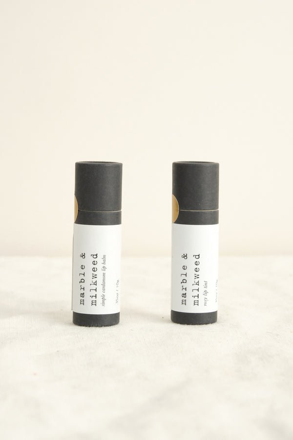 Marble and Milkweed lip balms