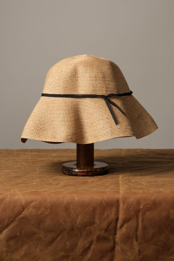 Mature ha Low Wide Paper Linen Braid Hat